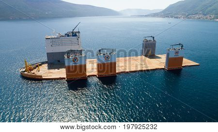 Tivat, Montenegro - 31 July 2017: Heavy lift vessel Dockwise Vanguard came to Montenegro to take the floating dock and take it to Lithuania