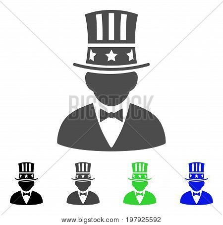 Capitalist flat vector pictograph. Colored capitalist, gray, black, blue, green icon versions. Flat icon style for application design.