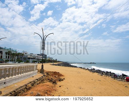 Seascape and Landscape at the Promenade of Pondicherry Beach, India