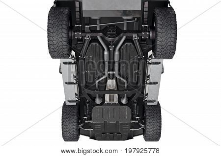 Car vehicle 4wd bottom suspension, close view. 3D rendering
