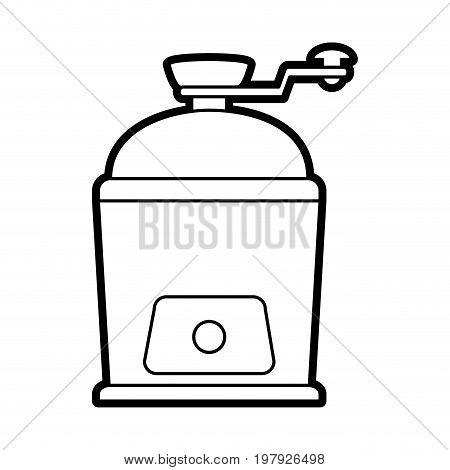 grinder coffee related icon image vector illustration design black line