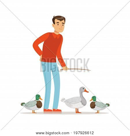 Farmer man feeding ducks, poultry breeding vector Illustration on a white background