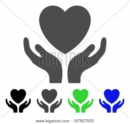 Love Heart Care Hands flat vector pictograph. Colored love heart care hands, gray, black, blue, green icon versions. Flat icon style for application design.