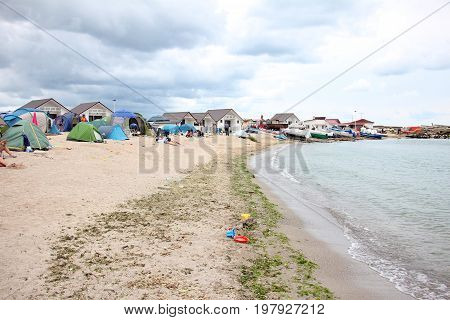 People camping on the beach at 2 Mai, Black Sea (july 2017)