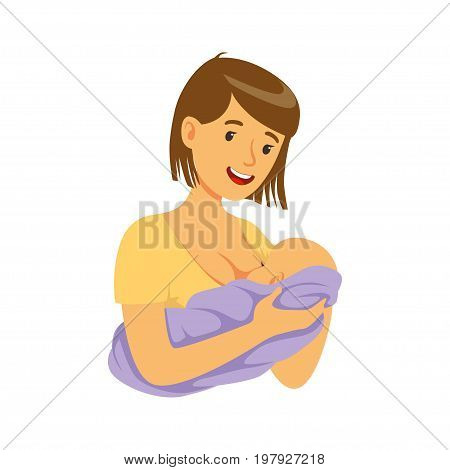Young mother holding baby in her hands while breastfeeding it with breast milk, colorful vector Illustration on a white background