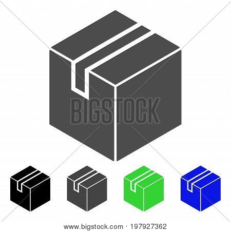Product Package Box flat vector icon. Colored product package box, gray, black, blue, green pictogram variants. Flat icon style for graphic design.