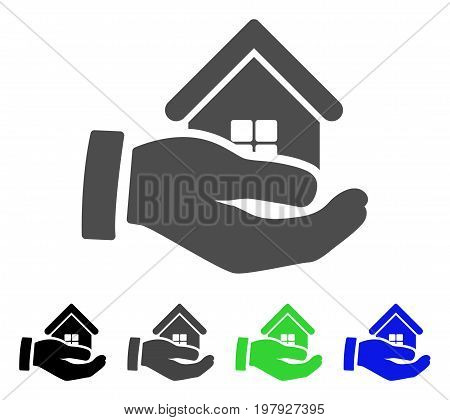Realty Offer Hand flat vector icon. Colored realty offer hand, gray, black, blue, green icon variants. Flat icon style for application design.