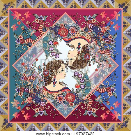 Unique scarf with two portraits of young women, beautiful flowers and ornamental frame.