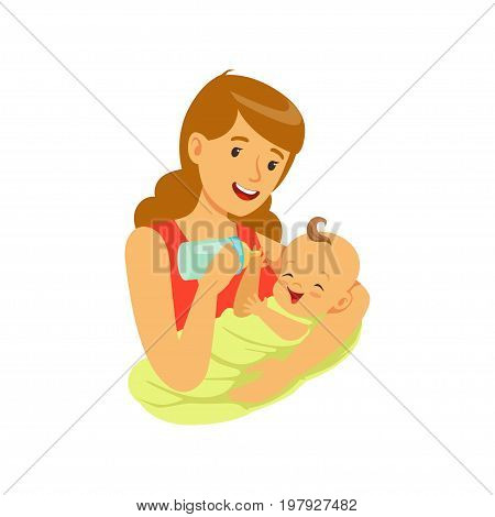 Happy mother holding her baby and feeding with milk bottle colorful vector Illustration on a white background