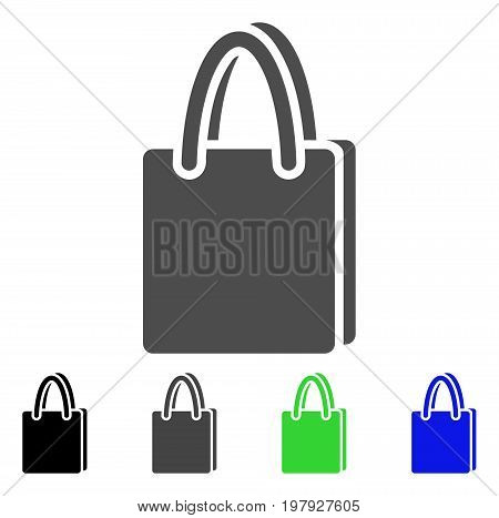 Shopping Bag flat vector icon. Colored shopping bag, gray, black, blue, green pictogram variants. Flat icon style for web design.