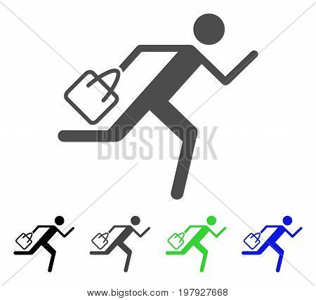 Shopping Running Man flat vector pictogram. Colored shopping running man, gray, black, blue, green pictogram versions. Flat icon style for web design.