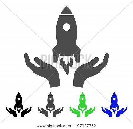 Startup flat vector icon. Colored startup, gray, black, blue, green pictogram variants. Flat icon style for application design.