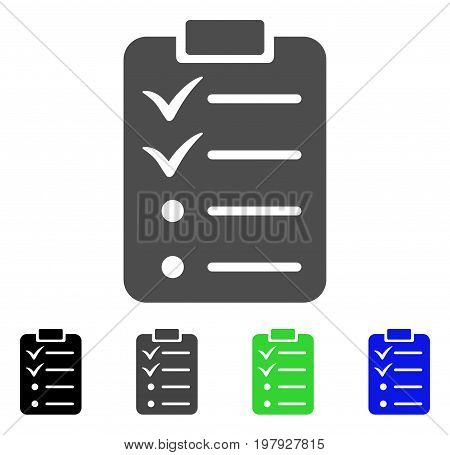 Todo List flat vector icon. Colored todo list, gray, black, blue, green icon versions. Flat icon style for application design.