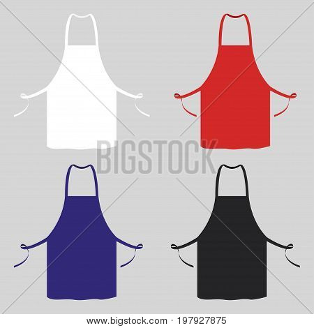Black, white, blue, red kitchen apron. Chef uniform for cooking. Vector illustration