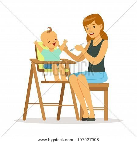 Happy young mother feeding her baby in highchair, colorful vector Illustration on a white background