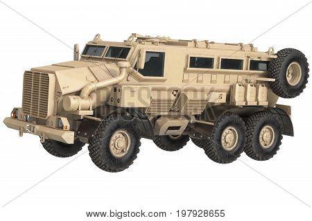 Truck military car defense transportation. 3D rendering