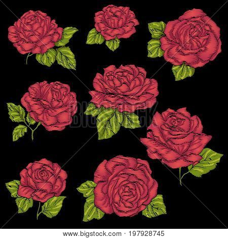 Set embroidery red rose with green leaves on black background. Stock line vector illustration.