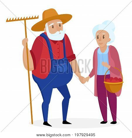 Old farmer with his wife. Elderly couple. Grandpa and grandma standing. Vector cartoon illustration