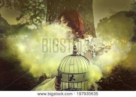 Woods, Beautiful red-haired girl dressed in white costume and with a bird cage containing smoke, fantasy image and fairy tale