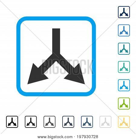 Bifurcation Arrow Down icon inside rounded square frame. Vector illustration style is a flat iconic symbol in some color versions.