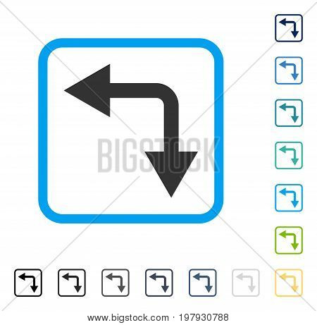 Bifurcation Arrow Left Down icon inside rounded rectangle frame. Vector illustration style is a flat iconic symbol in some color versions.