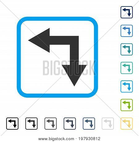 Bifurcation Arrow Left Down icon inside rounded square frame. Vector illustration style is a flat iconic symbol in some color versions.
