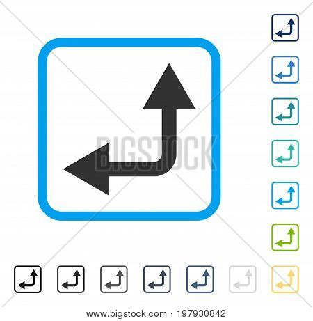 Bifurcation Arrow Left Up icon inside rounded square frame. Vector illustration style is a flat iconic symbol in some color versions.