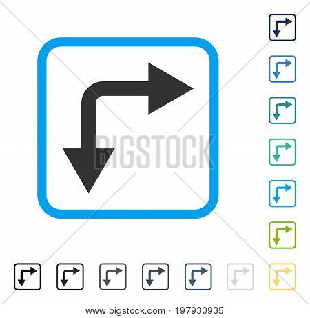 Bifurcation Arrow Right Down icon inside rounded rectangle frame. Vector illustration style is a flat iconic symbol in some color versions.