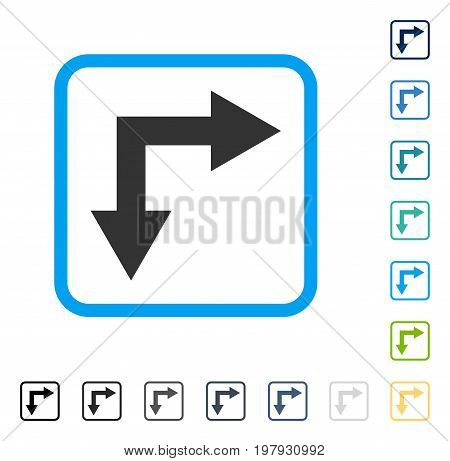 Bifurcation Arrow Right Down icon inside rounded square frame. Vector illustration style is a flat iconic symbol in some color versions.