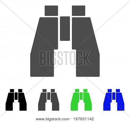 Find Binoculars flat vector illustration. Colored find binoculars, gray, black, blue, green pictogram variants. Flat icon style for web design.
