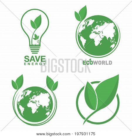 Ecology Logo Set. Eco World, Green Leaf, Energy Saving Lamp Symbol. Eco Friendly Concept For Company