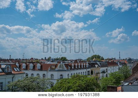 Rooftops,  Blue Sky And Kyline And City Panorama