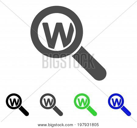 Search Word flat vector illustration. Colored search word, gray, black, blue, green icon versions. Flat icon style for web design.