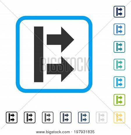 Bring Right icon inside rounded square frame. Vector illustration style is a flat iconic symbol in some color versions.