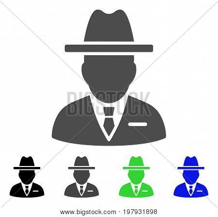 Spy Person flat vector pictograph. Colored spy person, gray, black, blue, green pictogram versions. Flat icon style for application design.