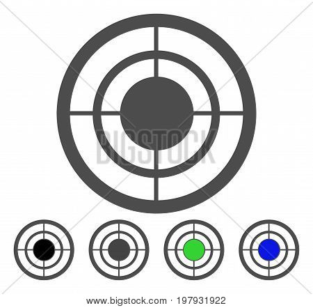 Target flat vector icon. Colored target, gray, black, blue, green icon variants. Flat icon style for web design.
