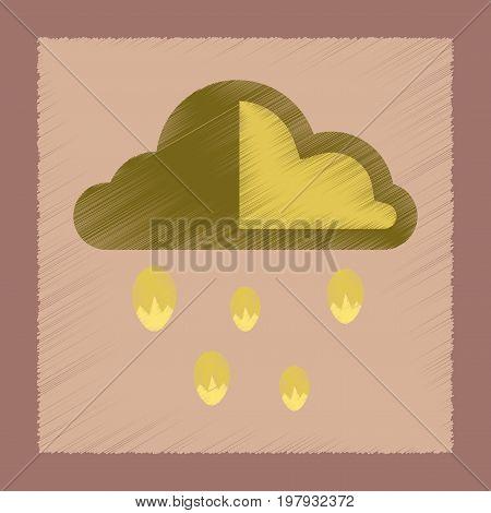 flat shading style icon nature cloud hail