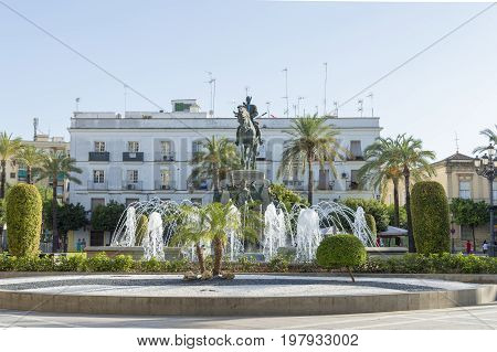 Plaza del Arenal, Jerez de la Frontera in the province of Cadiz, south of Spain, photo taken July 29, 2017