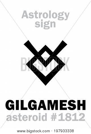 Astrology Alphabet: GILGAMESH, asteroid #1812. Hieroglyphics character sign (single symbol).