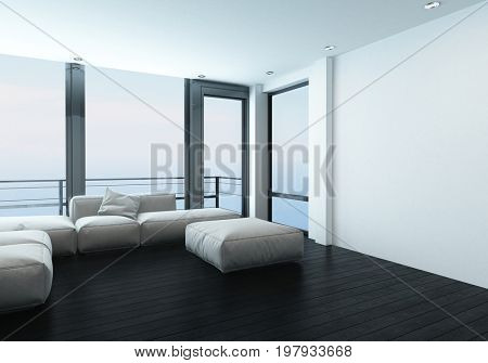 Comfortable corner in a modern living room with a modular sofa or window bench in front of scenic large windows overlooking mountains. 3d Rendering.