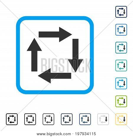 Circulation Arrows icon inside rounded square frame. Vector illustration style is a flat iconic symbol in some color versions.