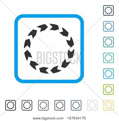 Circulation icon inside rounded square frame. Vector illustration style is a flat iconic symbol in some color versions.