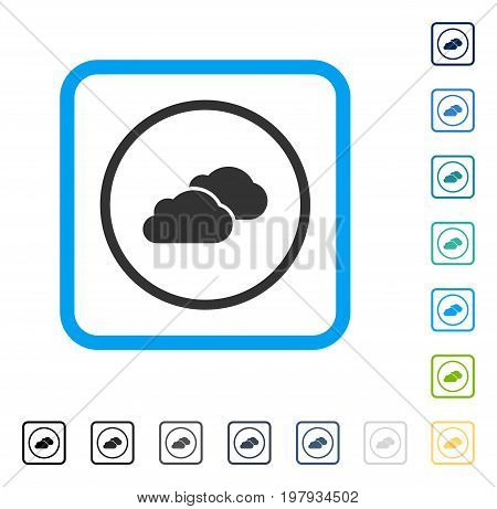 Clouds icon inside rounded square frame. Vector illustration style is a flat iconic symbol in some color versions.