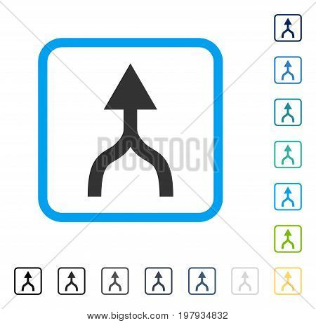 Combine Arrow Up icon inside rounded rectangle frame. Vector illustration style is a flat iconic symbol in some color versions.