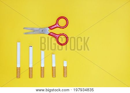 Quit smoking concept ,Positive thinking concept ,top view
