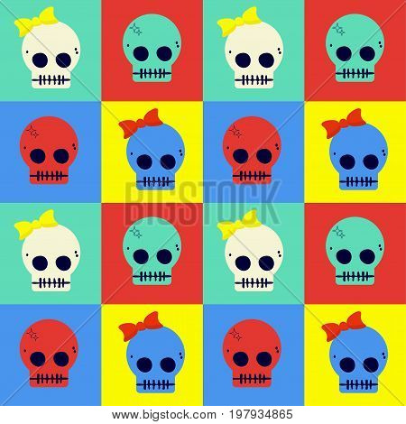 Pop art styled flat vector seamless pattern of cute skulls.  Great for Day of the Dead sugar Skulls or as halloween poster, t-shirt print or cloth print for kids.