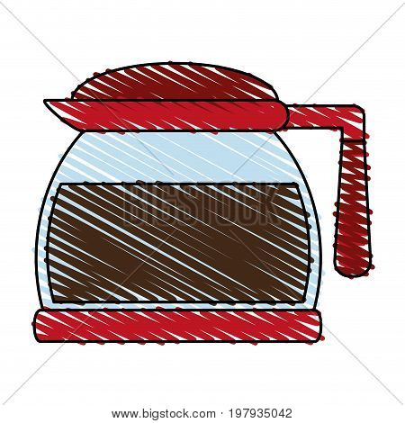pot coffee related icon image vector illustration design sketch style