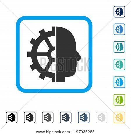 Cyborg Gear icon inside rounded square frame. Vector illustration style is a flat iconic symbol in some color versions.