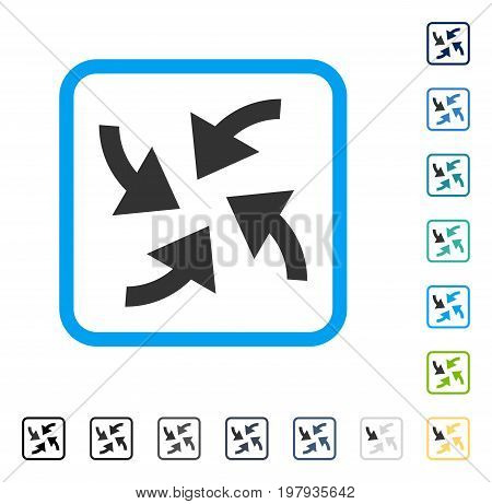 Cyclone Arrows icon inside rounded rectangle frame. Vector illustration style is a flat iconic symbol in some color versions.
