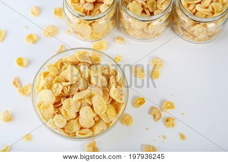 Cornflakes In Bowl On A White Background